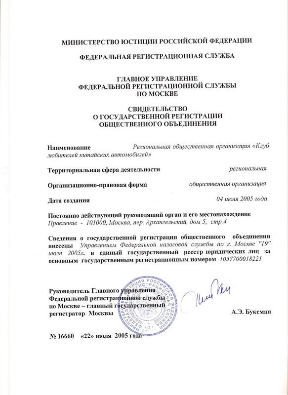 Свидетельство о гос. регистрации общественного объединения.