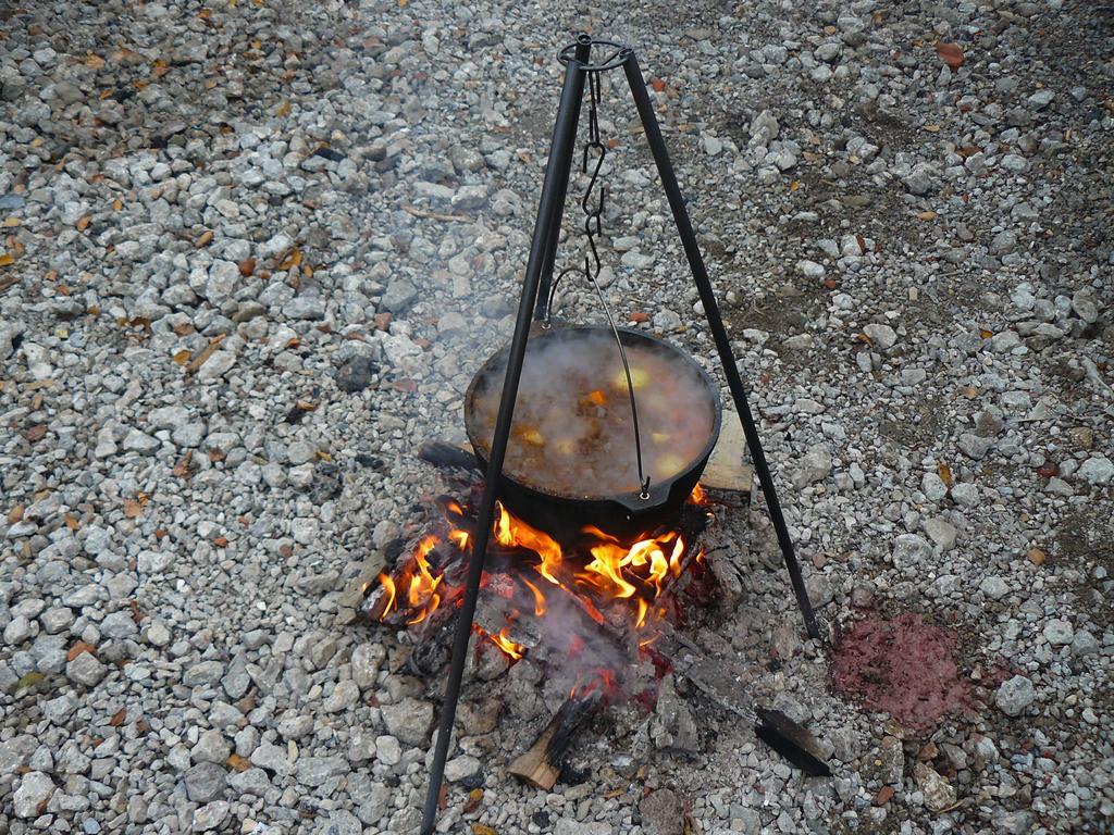 Похлебка из лося на огне